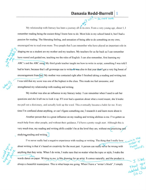 peer workshopping - Portfolio Essay Example